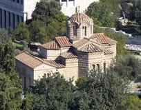 A igreja medieval dos apóstolos santamente, vista de Acrop Imagem de Stock