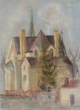 Igreja na cidade de Itaka ilustração do vetor