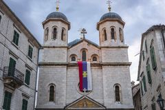 Igreja na cidade velha de Kotor imagem de stock
