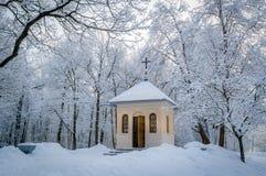 Igreja na floresta do inverno Foto de Stock