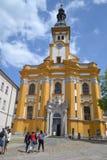 Igreja na salsicha tipo frankfurter no Oder Fotografia de Stock Royalty Free