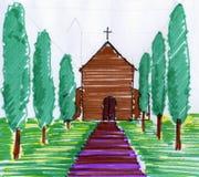 Igreja na Toscânia ilustração stock