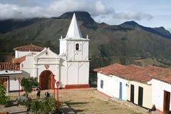 Igreja na vila do Los Nevados Imagem de Stock Royalty Free