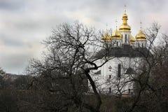 Igreja nas árvores Igreja Igreja velha em Chernigov Abóbada dourada history Cidade velha foto de stock
