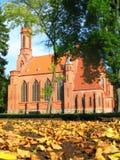 Igreja neogótica no outono fotografia de stock royalty free