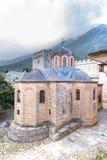 Igreja no grande monastério de Lavra Orthodox em Monte Athos, montanha santamente de Agion Oros, Chalkidiki, Grécia imagem de stock
