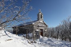 Igreja no inverno Fotografia de Stock Royalty Free