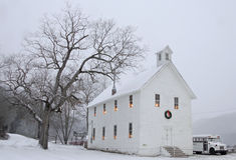 A igreja no Natal, Boxley do bosque da noz, Arkansas Imagens de Stock Royalty Free