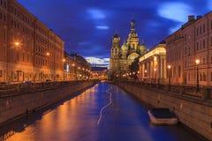 Igreja no sangue derramado em St Petersburg, Imagens de Stock