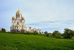 Igreja no sangue em honra de todos os Saint resplandecentes na terra do russo no monte da ascensão, Yekaterinburg foto de stock