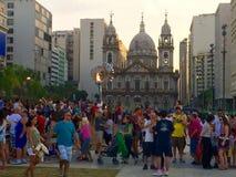 Igreja Nossa Senhora da Candelária - Rio de Janeiro. People in front of Olympic Pyre - Rio de Janeiro - Brazil royalty free stock photography