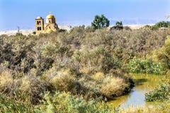 Igreja ortodoxa Bethany Beyond Jordan de Jordan River John Baptist Greek fotos de stock