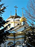 Igreja ortodoxa central em Novosibirsk Fotos de Stock Royalty Free