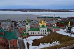 Igreja ortodoxa com abóbadas douradas Fotos de Stock Royalty Free