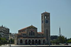 Igreja ortodoxa de Konstantinos On Its Main Facade Curso da história da arquitetura foto de stock royalty free