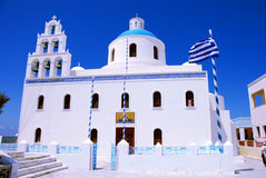 Igreja ortodoxa em Oia - Santorini fotos de stock royalty free
