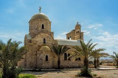 Igreja ortodoxa grega de John Baptist no al-Maghtas fotos de stock royalty free