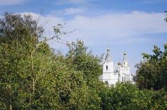Igreja ortodoxa pequena entre as árvores imagens de stock