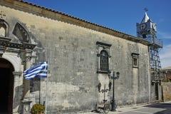 Igreja ortodoxa velha na cidade de Lefkada, Lefkada, ilhas Ionian Fotos de Stock Royalty Free