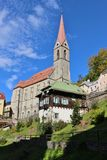 Igreja paroquial em Gastein mau, Áustria fotografia de stock