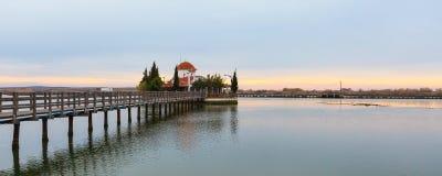 Igreja, Porto Lagos, lago Vistonida, prefeitura de Xanthi, Thrace, Grécia fotografia de stock royalty free
