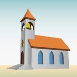 Igreja rural para católicos com vetor do sino Imagem de Stock