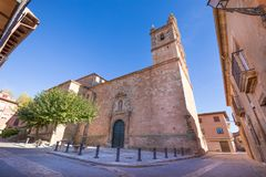 Igreja Santa Maria La Mayor na vila de Ayllon Fotos de Stock Royalty Free