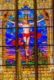 Igreja Schloss do castelo de Saint de Jesus Crucifixion Stained Glass All fotos de stock
