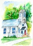 Igreja - uma pintura da aquarela foto de stock