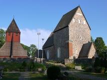 A igreja velha construiu o ontop de Viking Temple antigo Fotografia de Stock Royalty Free