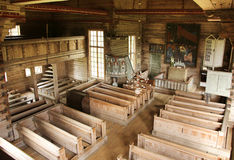 Igreja velha de Petajavesi dentro da vista Imagem de Stock