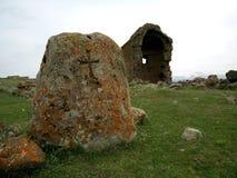 Igreja velha de Zoravar em Armênia Fotografia de Stock