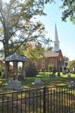 Igreja velha do tijolo com torre Imagens de Stock