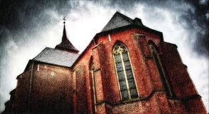 Igreja velha do tijolo vermelho perto de Aix-la-Chapelle, Alemanha Fotografia de Stock