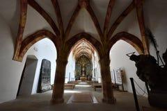 Igreja vermelha do monastério, região de Spis, Eslováquia fotografia de stock