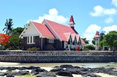 A igreja vermelha famosa em Maurícias fotografia de stock