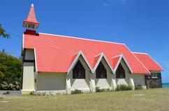 A igreja vermelha famosa em Maurícias fotos de stock royalty free