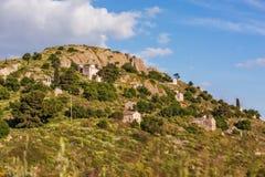 Igrejas antigas em Palaia Chora, Aegina, Grécia Fotografia de Stock Royalty Free