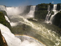 Iguacu Falls, Brazil. Iguacu Falls with rainbow seen from Brazilian side Stock Photo
