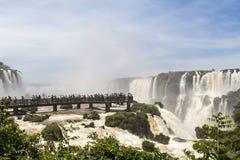 Iguacu (Iguazu) cae en una frontera del Brasil y de la Argentina Imagenes de archivo