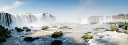 Iguacu (Iguazu) falls on a border of Brazil and Argentina Stock Photos