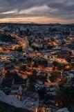 Igualación de vista de la ciudad antigua Goreme imagenes de archivo