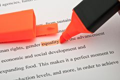 Igualdade destacada imagens de stock royalty free