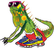 Iguana athlete. Caricature of an iguana with his athlete's attire to take a quick race Royalty Free Stock Images