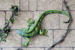 Iguana decorations on a wall in the resort city of Cancun Royalty Free Stock Photos