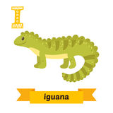 Iguana. I letter. Cute children animal alphabet in vector. Funny. Cartoon animals. Vector illustration Royalty Free Stock Photos
