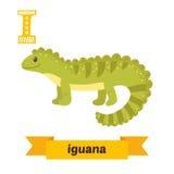 Iguana. I letter. Cute children animal alphabet in vector. Funny. Cartoon animals. Vector illustration stock illustration