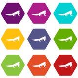 Iguana icon set color hexahedron Royalty Free Stock Photography