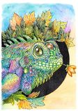 Iguana, lizard, chameleon, drawing with watercolor paints Royalty Free Stock Photos