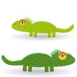 Iguana verde divertida en un fondo blanco Imagen de archivo libre de regalías